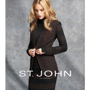 St. John Caviar striped sleeve jacket